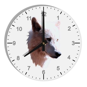 "Magnificent White Wolf Head 8"" Round Wall Clock with Numbers"