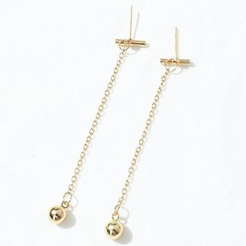 ES252 Long Tassel Stud Earrings Fashion Jewelry Brincos Alloy Ball Earing pendientes mujer boucles Bijoux