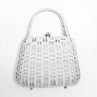 Vintage Basket Purse - 1950s White Wicker Bag