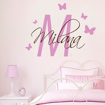Monogram Wall Decals Custom Initial Girl Personalized Name Butterfly Girl Room Home Vinyl Decal Sticker Kids Nursery Baby Room Decor kk820