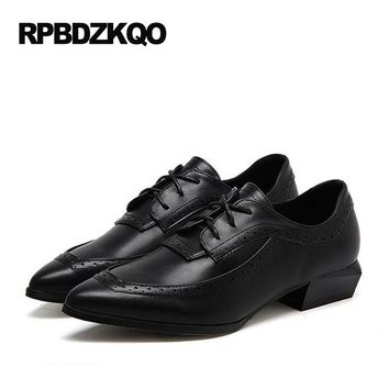 Lace Up Low Heel Women British Style Vintage Oxfords Shoes European Pointed Toe Black Size 35 Flats Ladies Female 2017 Latest