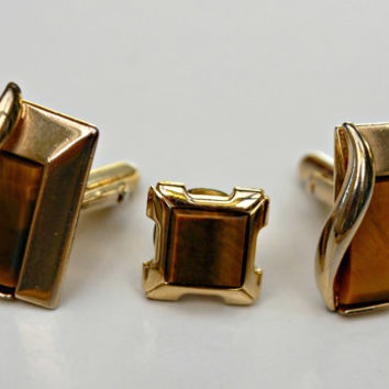 Vintage Swank Tiger Eye goldtone Cufflink and Tie tack