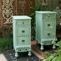 CUSTOM ORDER NIGHTSTANDS For Your Shabby Chic Bedroom Pair of Shabby Chic Nightstands Hand Painted Furniture The Shabby Chic Furniture