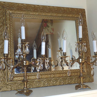 PAIR Vintage Brass Candelabra Lamps with Prisms- Shades Included!