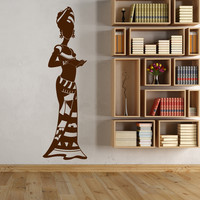 Vinyl Wall Decal African Woman Native Africa Turban Black Lady Stickers Unique Gift (1320ig)