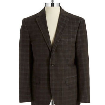Black Brown 1826 Plaid Corduroy Blazer