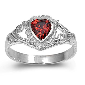 Sterling Silver Filigree Heart CZ Garnet 7MM CZ Petite Rings