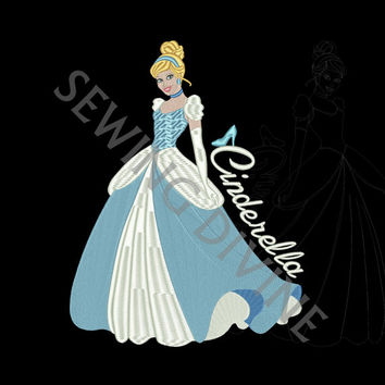 Cinderella New Look Embroidery Design 5x7 and 6x10 Hoops Instant Download New UPDATED Look