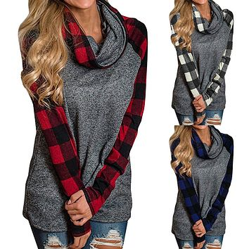 Womens Turtleneck  Plaid Shirt w /Tunic Long Sleeve Pullover Sweatshirt