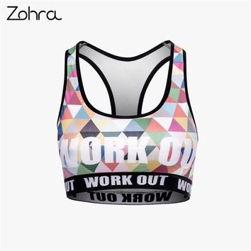 Zohra Fashion Breathable Women Fitness Bra Colorful Triangles Printing Tops Woman Sexy Slim Short Clothes