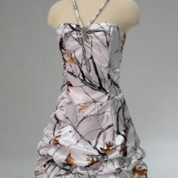 free shipping  halter white camo  formal camouflage cocktail  party dresses 2017 new style custom make size 0 or plus size