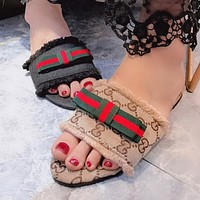 Gucci Popular Women Casual GG Letter Print Red Green Stripe Bowknot Sandal Slipper Shoes I12507-1