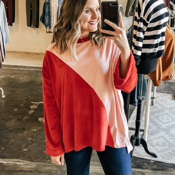 Elle Velvet Colorblock Sweater
