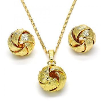 Gold Layered 10.63.0517 Necklace and Earring, Love Knot Design, Polished Finish, Golden Tone