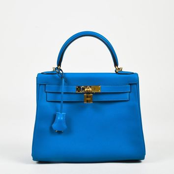 "Hermes 2016 ""Blue Hydra"" ""Evercolor"" Leather Kelly Retourne"" 28 cm Satchel Bag"