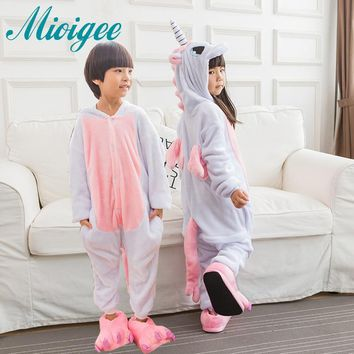 Mioigee Children Unisex Unicorn Animal Kigurumi Pajamas Costume Winter Flannel Keep Warm Pajamas Kids Sleepwear for kid boy girl