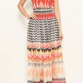 Getting Around Red Geometric Pattern Smocked Short Sleeve Off The Shoulder Casual Maxi Dress
