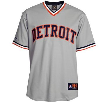 MLB Detroit Tigers Gray Road Cooperstown Cool Base Team Jersey
