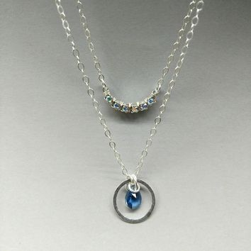 Silver Layered Blue Crystal Circle Crescent Necklace