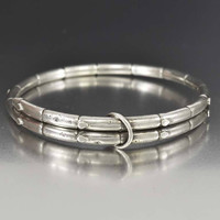 Antique Victorian Sterling Silver Bamboo Bracelet