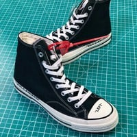 Off White X Converse Chuck Taylor All Star 1970s Mid Black Sneakers Shoes - Best Online Sale