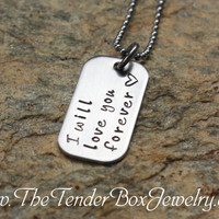 Free Shipping I will love you forever hand stamped necklace