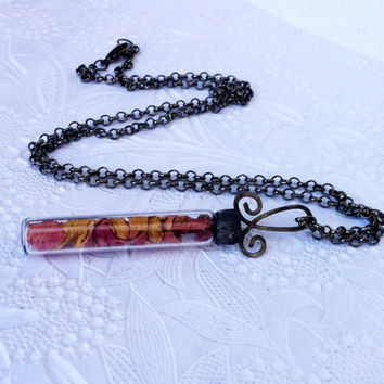 Rose Petal Pendant, Soldered Vial Necklace, Dried Flower Jewelry, Pink Rose Petal Charm, Glass Vial Necklace, Rose Necklace