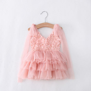"The ""Kelsey"" Pink Floral Tutu Girls Dress"