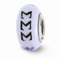Sterling Silver Hand Painted Sigma Sigma Sigma Glass Bead