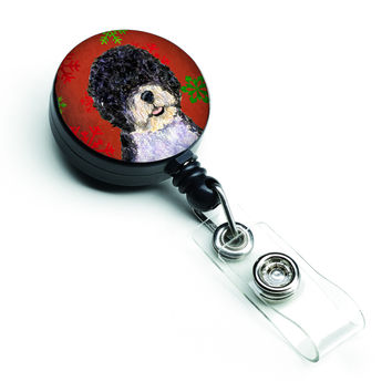 Portuguese Water Dog Red Green Snowflake Christmas Retractable Badge Reel SS4697BR