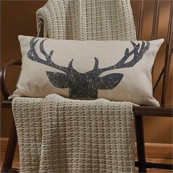 "Rustic Antlers Pillow - 26"" x 16"""
