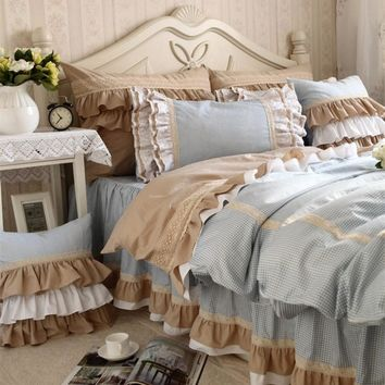 New classic blue lace bedding set flounces lattice block process princess bedding ruffle duvet cover bedskirt bed sheet sets