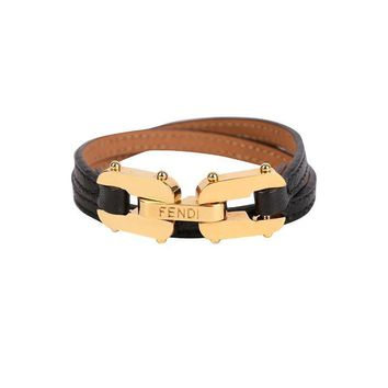 Fendi Black Leather Double-Stranded Bracelet 8AG407