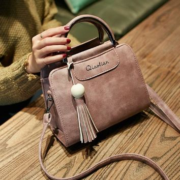 DCCKUNT Retro Pink Leather With Tassel Hand Bag Shoulder Bag