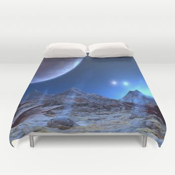 Extraterrestrial Landscape : Galaxy Planet Blue Duvet Cover by 2sweet4words Designs