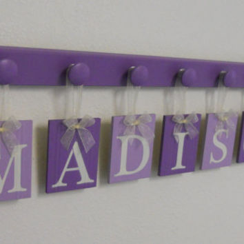 Purple Baby Nursery Decor Wall Sign Set with 7 Wooden Letter Plaques in Light Purple / Lilac Names Personalized for MADISON, Baby Girl Gift