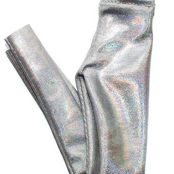 Holographic Silver High Waisted Leggings