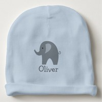 Custom cute gray elephant blue boy baby beanie hat