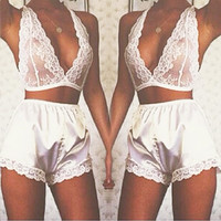 2017 Sexy lingerie hot white lace Halter deep_v neck chest +Satin shorts erotic lingerie set sexy costumes sexy pajamas women