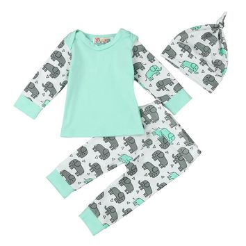 3 Piece Elephant Print Hat + Top + Pants Set