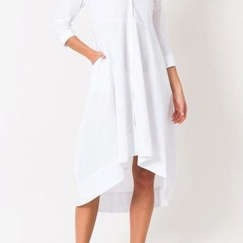 Gwendolyn Stretch Cotton High Low Dress