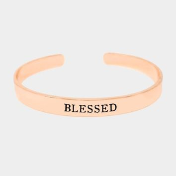 """""""Blessed"""" Gold Dipped Metal Cuff Bracelet"""