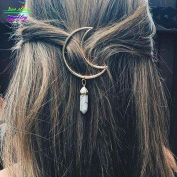 ICIKFV3 2017 New Vintage Natural Stone Moon Statement Hairpin Sweet Bobby Pin Bijoux Fashion Jewelry Hair Clip