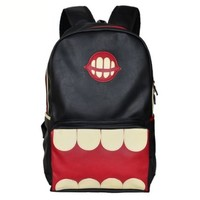 Funny Big Mouth PU Leather Backpack (Black)