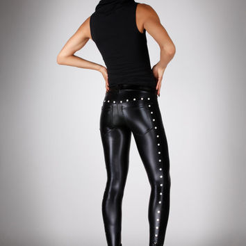 Studded Leather Leggings w. Jeans Back, Shiny Black Spandex Pants, Glam Rock Stage Clothing, Heavy Metal Meggings, by LENA QUIST