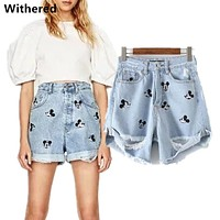 Withered denim shorts women harem high waist shorts vintage embroidery of Mickey cartoons hole denim short for women plus size