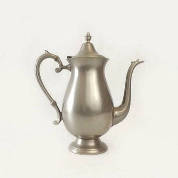 ON SALE - F B Rogers Pewter Coffee Pot, Tall Vintage Teapot, Mid Century Kitchen Serving