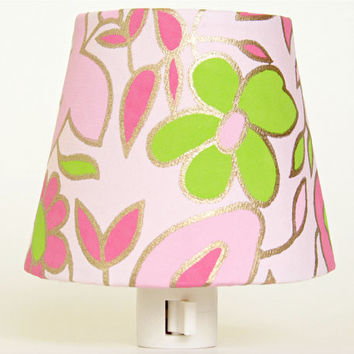 Baby Girls Night Light - Pink Nursery Decor - Little Girls Room Lighting with Pink and Green Flowers -  Decorative Nightlight