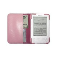 mCover Leather Folio Cover for Amazon Kindle 3 Keyboard Model (Pink)