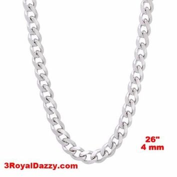 """14k White gold Layer on Solid 925 Sterling Silver Miami Cuban Chain- 4 mm - 26"""""""